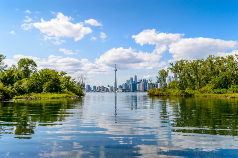 Skyline of Toronto from lake